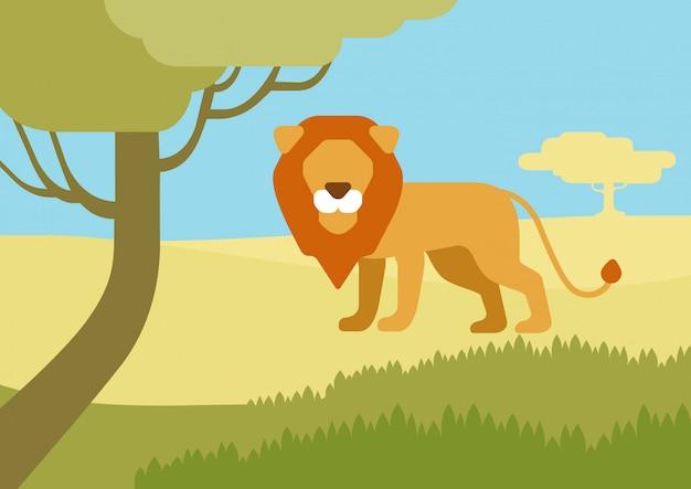 Lew w siedlisku kreskówka płaski, dzikie zwierzęta.