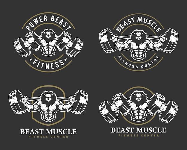 Lew z mocnym ciałem, zestawem logo klubu fitness lub siłowni.