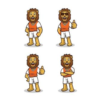 Lew ze sportowym strojem ładny maskotka projekt wektor zestaw szablonów ilustracji
