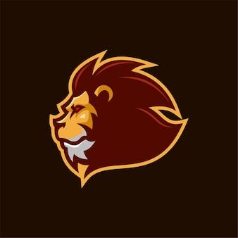 Lew zwierząt głowy kreskówka logo szablon ilustracja. gry z logo e-sportu premium wektor