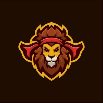 Lew Zwierząt Głowy Kreskówka Logo Szablon Ilustracja. Gry Z Logo E-sportu Premium Wektor Premium Wektorów