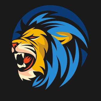 Lew zwierząt maskotka głowa wektor ilustracja logo