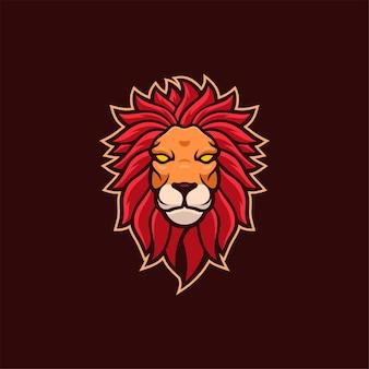 Lew zwierzęca głowa kreskówka logo szablon ilustracja esport logo gry wektor premium