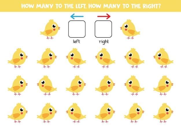 Lewa lub prawa z uroczym żółtym kurczakiem. gra edukacyjna do nauki lewej i prawej strony.