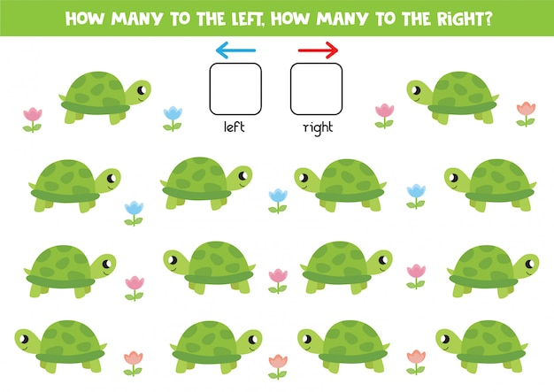 Lewo i prawo z kreskówkowym żółwiem. gra edukacyjna dla dzieci w wieku przedszkolnym.