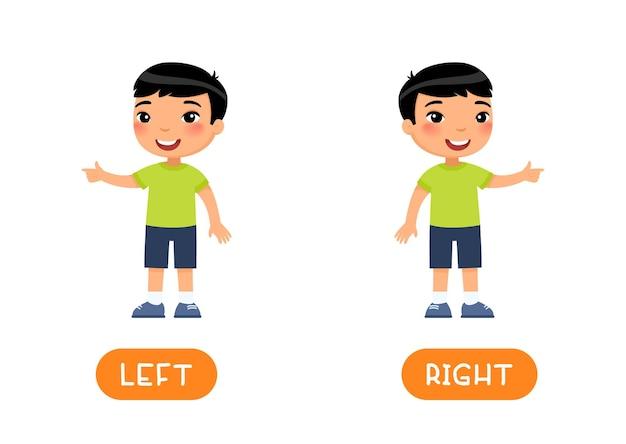 Lewy i prawy szablon wektor antonymów karty słownej