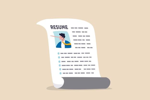 Leżąc na cv cv, aby uzyskać zatrudnienie, nieuczciwość lub problem z uczciwością na doświadczeniu zawodowym i historii kariery, koncepcja fałszywej edukacji, papier cv ze zdjęciem kłamcy, biznesmena z długim nosem pinokio.