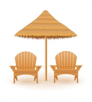 Leżak plażowy leżak drewniany i parasol ze słomy i trzciny ilustracji wektorowych