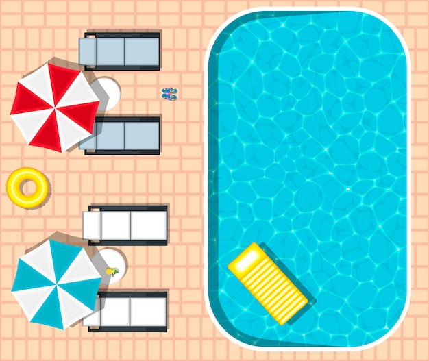 Leżaki plażowe w pobliżu orzeźwiającego basenu
