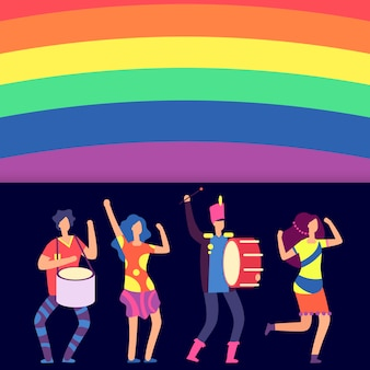 Lgbt banner tęczy i postaci z kreskówek ludzi