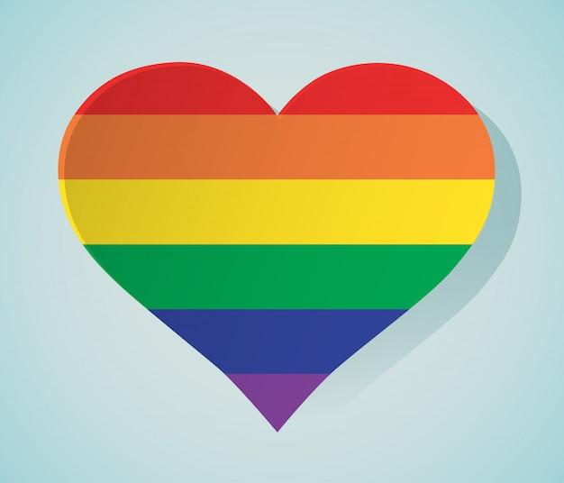 Lgbt ikona tęczy w kształcie serca na białym tle