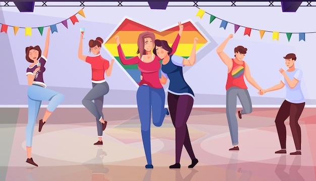 Lgbt party płaskie tło z zabawnymi młodymi ludźmi uczestniczącymi w zbieraniu ilustracji