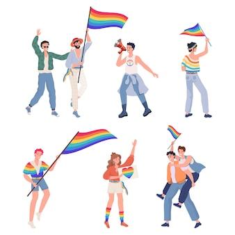 Lgbtq duma płaska ilustracja wektorowa lesbijka wesoły biseksualny transseksualny mężczyzna