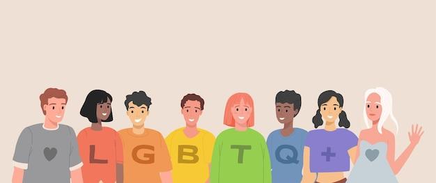 Lgbtq ludzie płaska ilustracja grupa lesbijek gejów biseksualnych