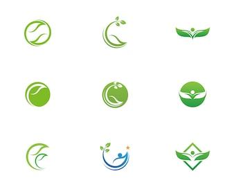 Liść zielony charakter logo i symbol szablon