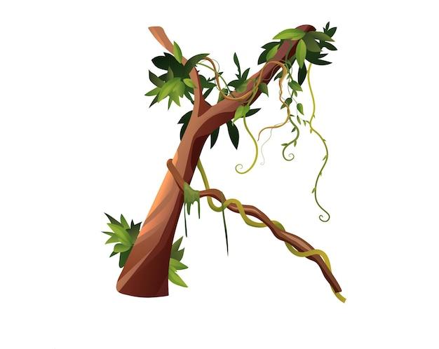 Liana lub kręte gałęzie winorośli kreskówka. tropikalne rośliny pnące w dżungli.