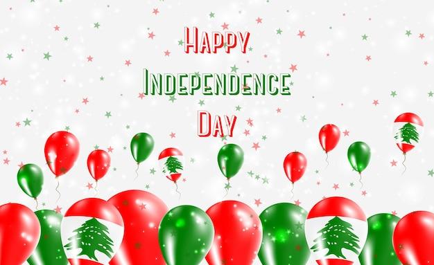 Liban dzień niepodległości patriotyczny design. balony w libańskich barwach narodowych. szczęśliwy dzień niepodległości wektor kartkę z życzeniami.