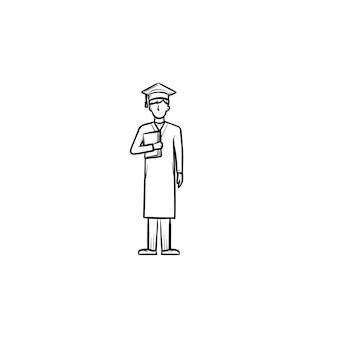Licencjat w kasztana i płaszcz ręcznie rysowane konspektu doodle ikona. absolwent posiadający świadectwo ukończenia szkoły wektor szkic ilustracji do druku, web, mobile na białym tle.