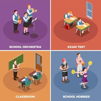 Liceum ze studentami i ich różne działania ilustracyjne