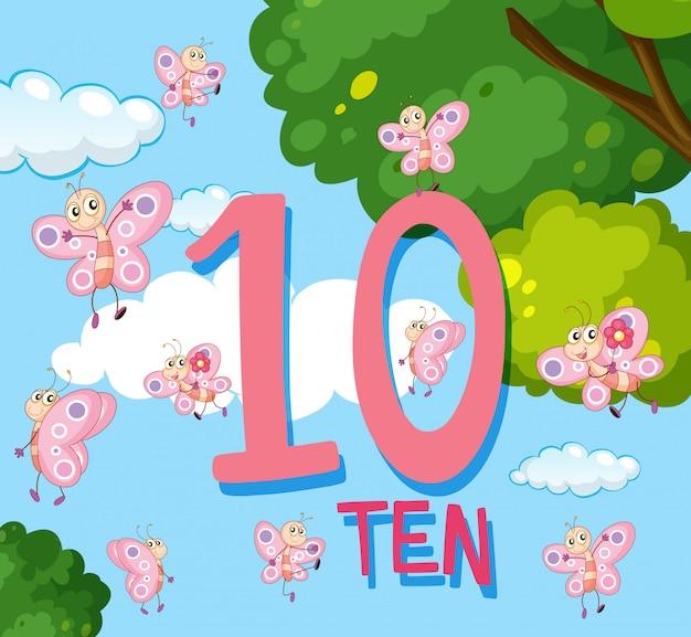 Licząc do liczby 10 z motylami