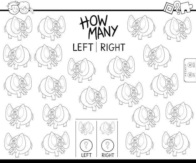 Licząc lewy i prawy obraz książki kolor słoń