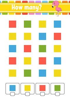 Licząca gra dla dzieci. szczęśliwe postacie. nauka matematyki. ile obiektów na zdjęciu.