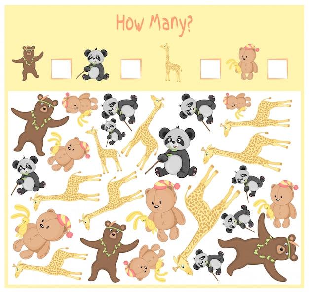 Licząca gra dla dzieci w wieku przedszkolnym. matematyczna gra edukacyjna. policz, ile przedmiotów i napisz wynik. dzikie i domowe zwierzęta.