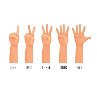 Liczące wskazówki pokazują cyfry, policz jeden, dwa, trzy, cztery, pięć. ręka pokazuje zestaw ikon palców. liczenie osób przy pomocy języka niewerbalnego