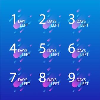 Liczba dni, które pozostały do promocji. zestaw