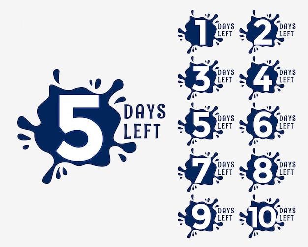 Liczba dni pozostających do końca w stylu efektu kropli tuszu