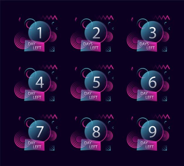 Liczba dni pozostających znaczek na promocję, sprzedaż, szablon, ulotkę, baner, plakat i inne