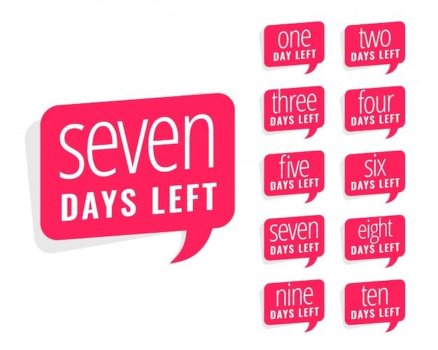 Liczba dni pozostały projekt naklejki na sprzedaż i promocję