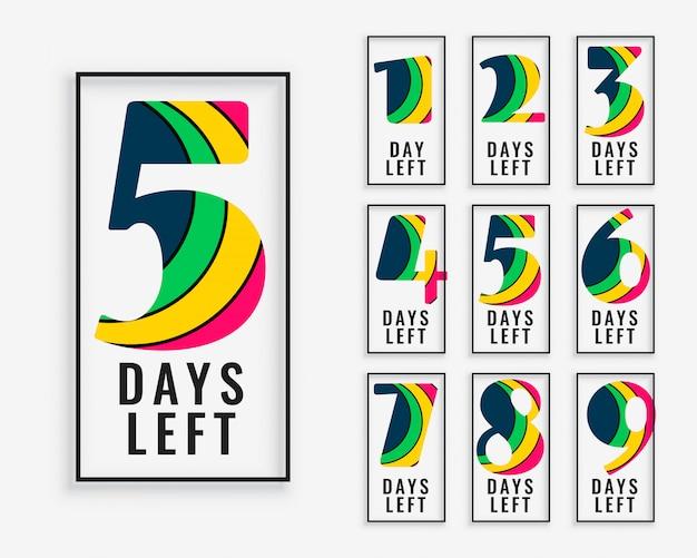 Liczba dni pozostałych w kolorowym stylu