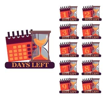 Liczba dni w lewo odliczanie szablon ilustracji wektorowych