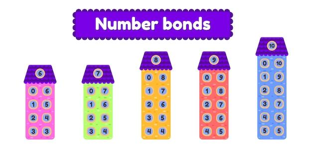 Liczba obligacji. arkusz matematyczny dla dzieci w wieku przedszkolnym, przedszkolnym i szkolnym. dom z kreskówek.