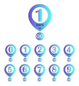 Liczba pozostałych dni. odznaki dni przed nami
