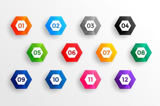 Liczba punktorów w kształcie sześciokąta 3d od jednego do dwunastu