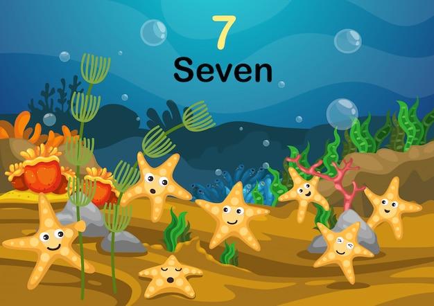 Liczba siedem gwiazda ryba pod dennym wektorem