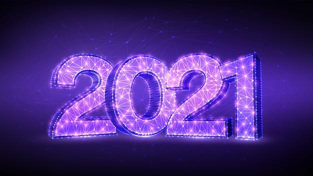 Liczby 2021. projekt transparentu szczęśliwego nowego roku 2021. geometryczna niska wielokątna kartka z życzeniami nowego roku 2021.