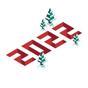 Liczby izometryczne 3d pikseli 2022 na baner wesołych świąt i nowego roku w płaskiej konstrukcji