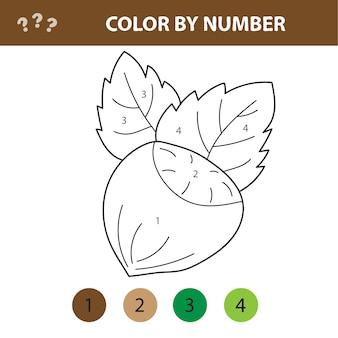 Liczby kolorowanki. kreskówka orzech laskowy. gra edukacyjna dla dzieci w wieku przedszkolnym