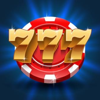 Liczby lucky 777 wygrywają na automatach. wektor hazardu i koncepcja kasyna. lucky w grze hazardowej, ilustracja jackpota hazardowego