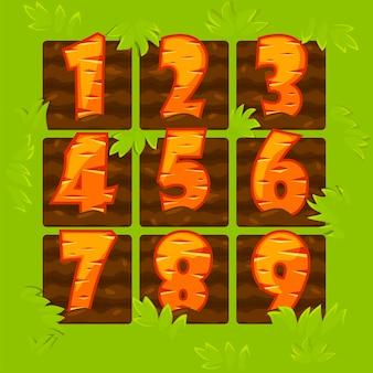 Liczby marchewki w łóżkach ogrodowych, figurki z kreskówek do gry.