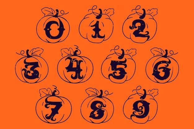 Liczby ustawione w dyniach z teksturą grunge czcionka w stylu gotyckim idealna do twojego projektu na halloween