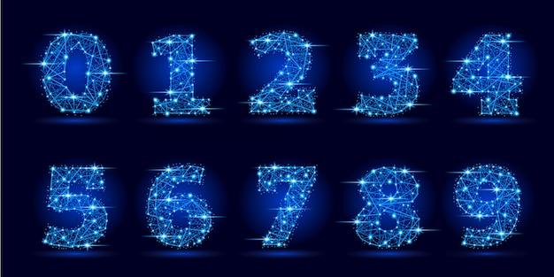 Liczby ustawione z futurystycznych wielokątnych linii i gwiazd.