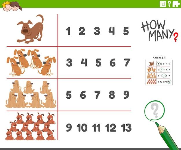 Liczenie aktywności z postaciami zwierząt z kreskówek psów