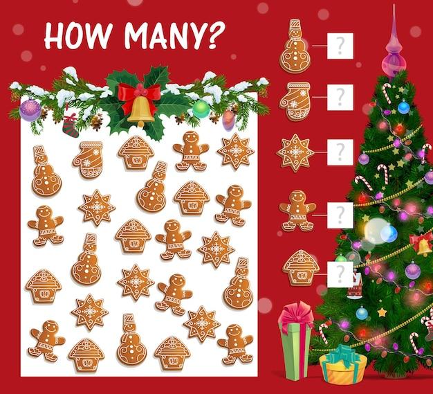 Liczenie gier dla dzieci z wektorem świątecznych ciasteczek
