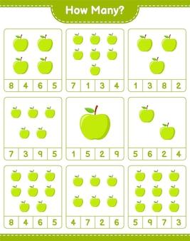 Liczenie gier, ile apple. gra edukacyjna dla dzieci, arkusz do druku