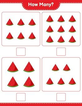 Liczenie gier, ile arbuzów. gra edukacyjna dla dzieci, arkusz do druku