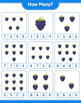 Liczenie gier, ile blackberry. gra edukacyjna dla dzieci, arkusz do druku